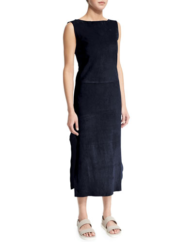 Sleeveless Bateau-Neck Sheath Dress, Navy