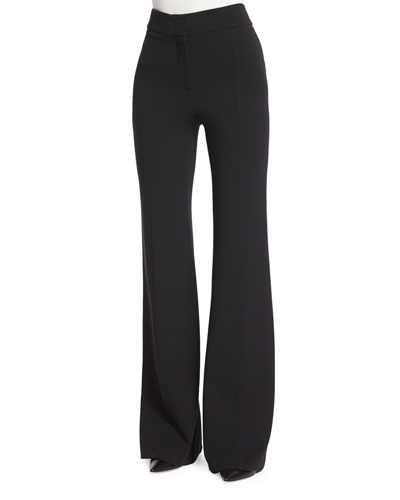 Georgia Crepe Flare-Leg Pants, Black