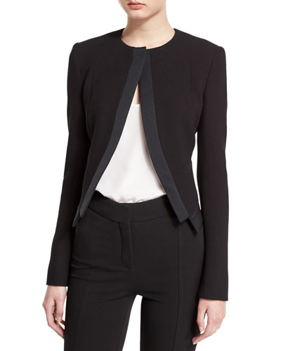 Cutaway Wool-Crepe Cardi Jacket, Black