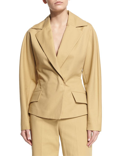 Lara Notched-Lapel Jacket, Caramel
