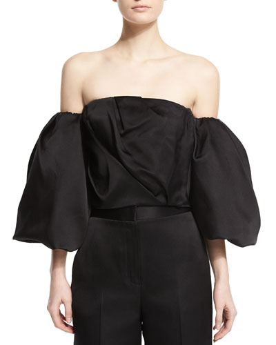 Amilli Off-the-Shoulder Satin Crop Top, Black