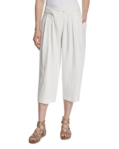 Pleated Cross-Front Wide-Leg Pants, White Pepper