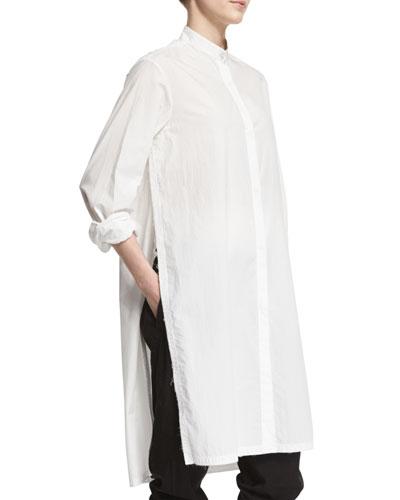 Long-Sleeve Cotton Split-Side Top, Salt