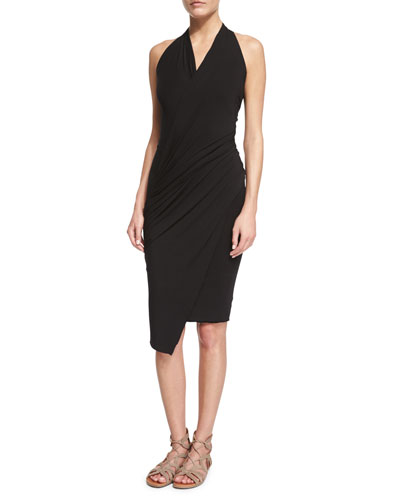 Sleeveless Stretch-Knit Wrap Dress, Black
