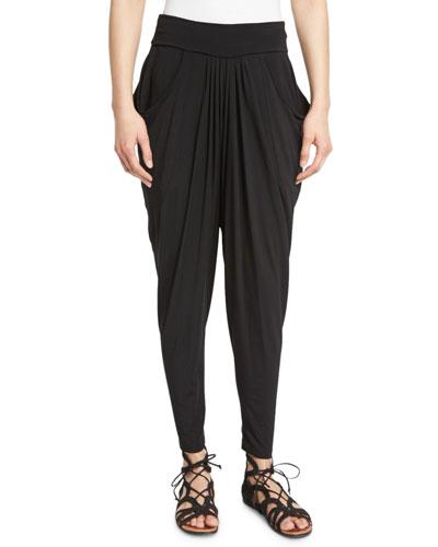 Slouchy Jersey Jodhpur Pants, Black
