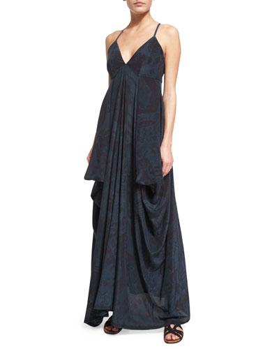 Sleeveless Tribal-Print Silk Cami Gown, Teal