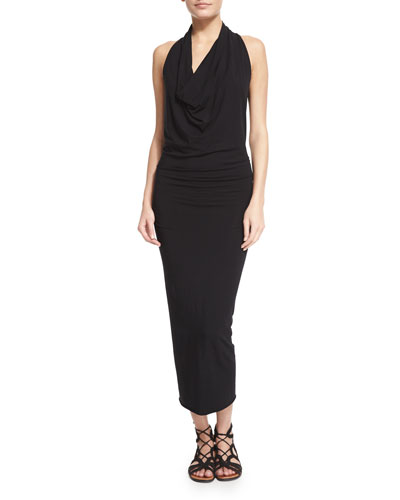 Sleeveless Jersey Cowl-Neck Midi Dress, Black