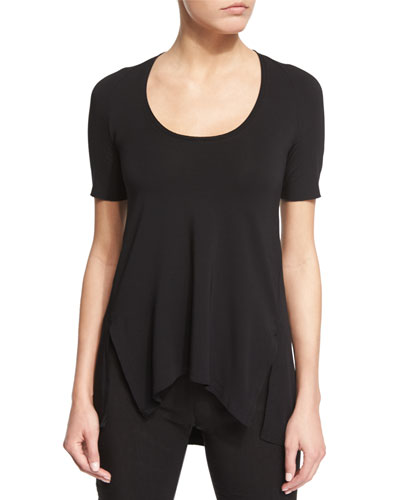 Short-Sleeve Scoop-Neck Tee, Black