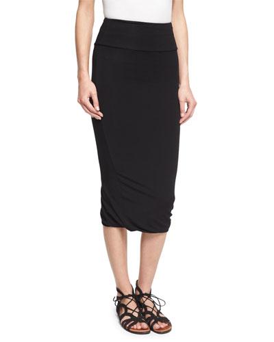 Twist-Hem Tube Skirt, Black