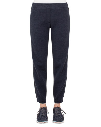 Milla Jogging Pants w/Side Zips, Denim