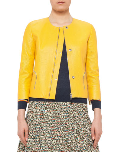 3/4-Sleeve Perforated Leather Jacket, Xanthoria