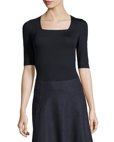 Square-Neck Knit Top, Navy