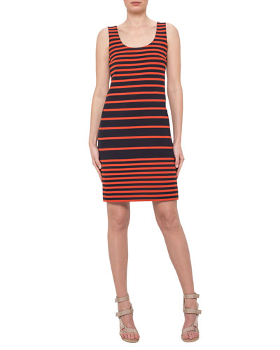 Sleeveless Striped Scoop-Neck Dress, Navy/Rust