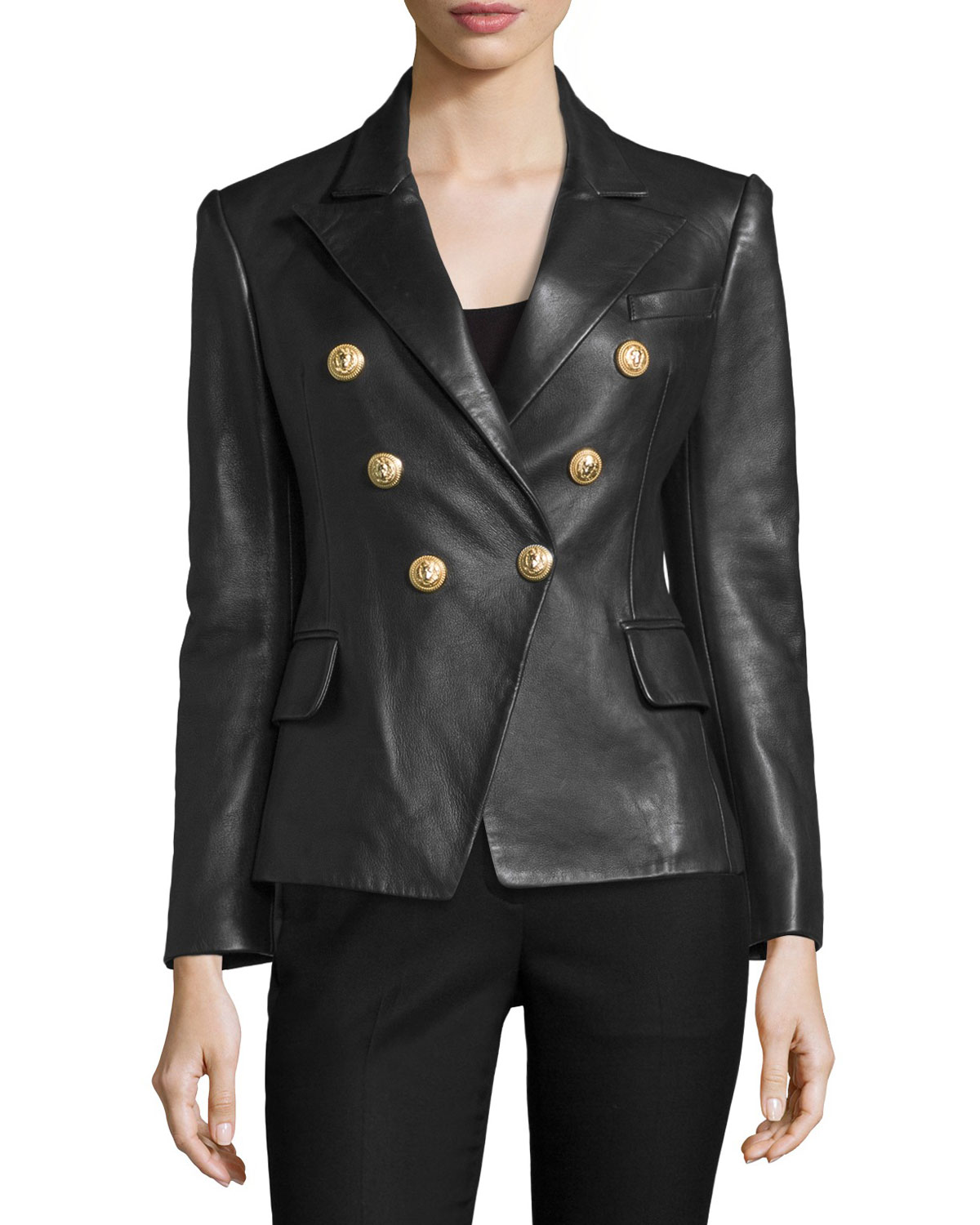 Classic Leather Double-Breasted Blazer
