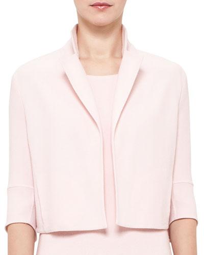 Emma 3/4-Sleeve Short Wool Cocoon Jacket, Flamingo