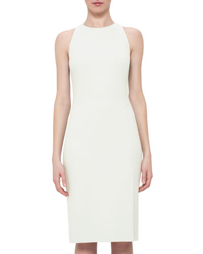 Sleeveless Wool Crepe Sheath Dress, Pelican