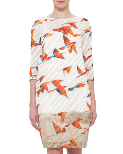 3/4-Sleeve Karminspint-Print Shift Dress, Multi