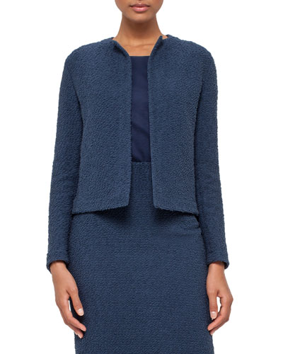 Eden Cropped Boucle Jacket, Blue Jay