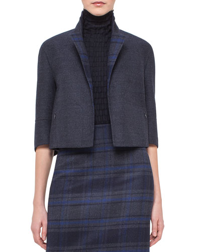 Emma Reversible Solid/Plaid Cocoon Jacket, Blue Jay/Starling
