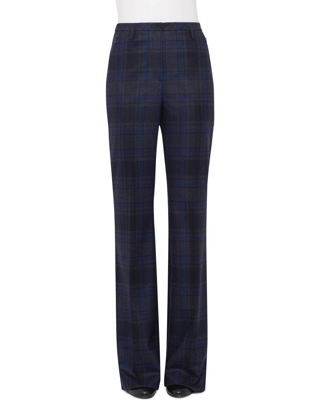 Farrah Plaid Wool Pants, Blue Jay