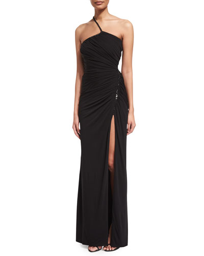 One-Shoulder Ruched Jersey Gown, Black