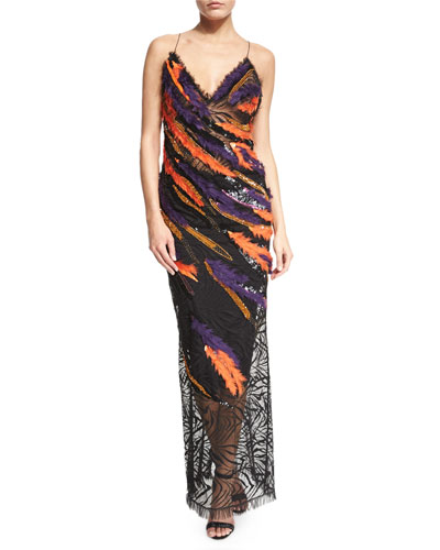 Sleeveless Sequin Feathered Open-Back Gown, Multi Colors