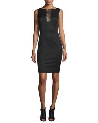 Sleeveless Laser-Cut Sheath Dress, Black