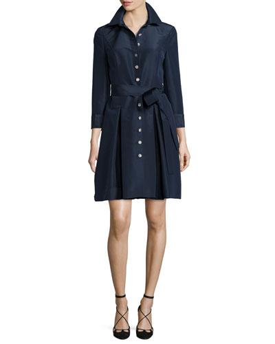 Silk Faille Trench Dress, Navy