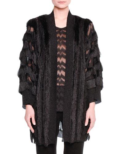 Metallic Fringed Cardigan Sweater, Black