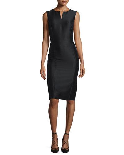 Sleeveless Mikado Sheath Dress, Black