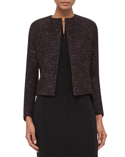Metallic Boxy Tweed Jacket, Brown