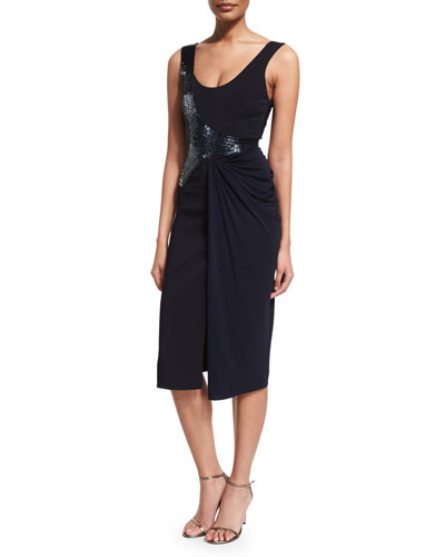 Draped Sleeveless Cocktail Dress w/Beading, Midnight