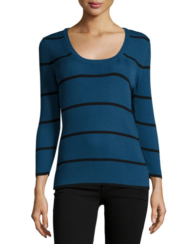 Striped Rib-Knit Sweater, London Black