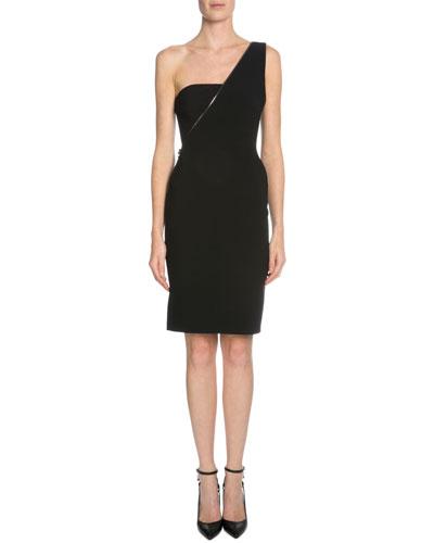 One-Shoulder Sheath Dress, Black