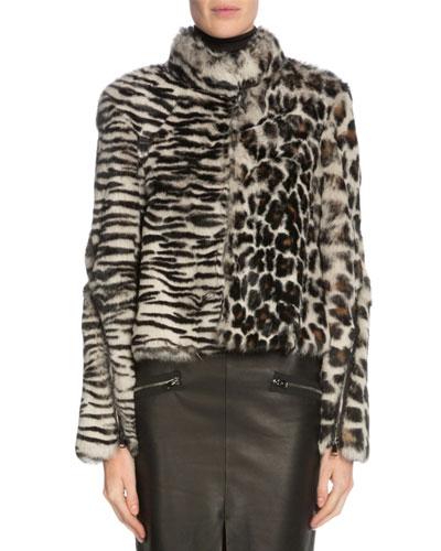Leopard-Print Rabbit Fur Coat, Gray/Black