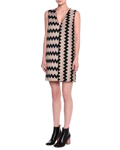 V-Neck Sleeveless Zigzag Shift Dress, Black/Tan