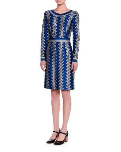 Long-Sleeve Zigzag Knit Dress, Blue/Silver