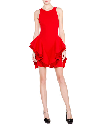 Sleeveless Ruffle-Skirt Open-Back Dress, Red