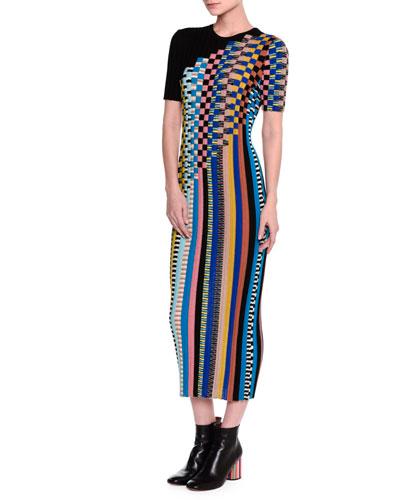 Short-Sleeve Checkered Midi Dress, Black