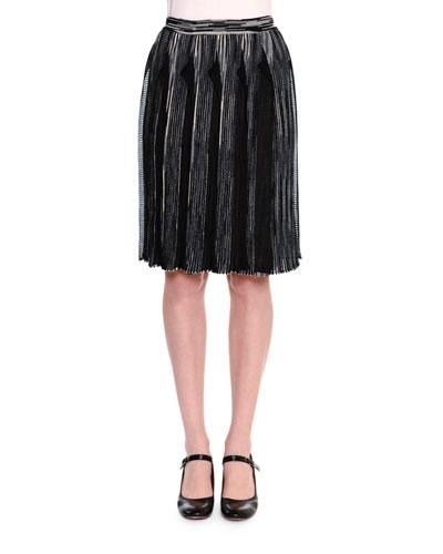 Fringed Knit Skirt, Black/White