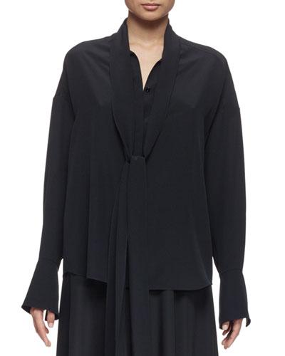 Button-Front Tie-Neck Blouse, Black