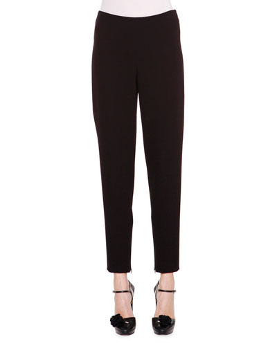 Stretch-Woven Ankle-Zip Pants
