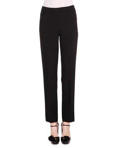 Classic Stretch-Wool Pants, Black
