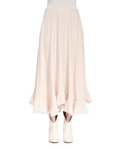 Silk Ruffle-Hem Midi Skirt