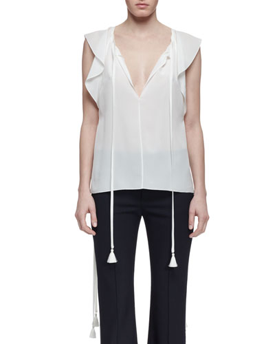 Flutter-Sleeve Split-Neck Blouse, Milk