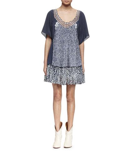 Half-Sleeve Mixed-Print A-Line Dress, Navy/White