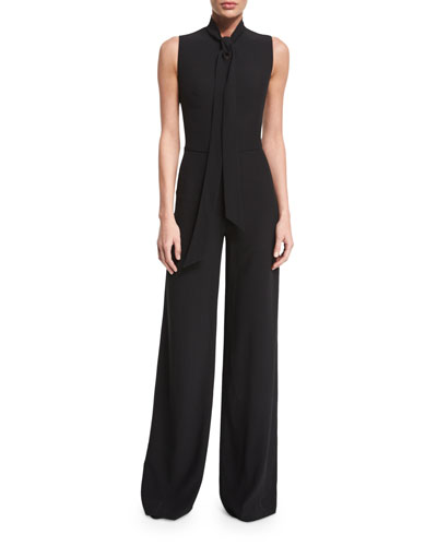 Sheryl Tie-Neck Wide-Leg Jumpsuit, Black