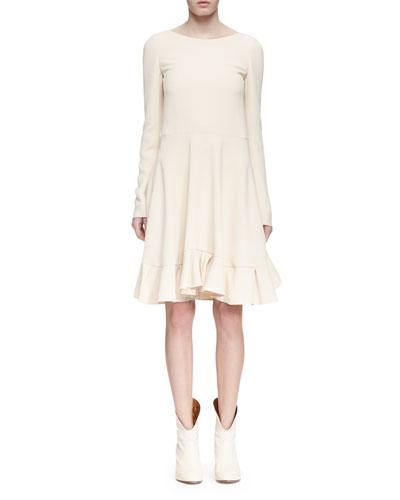 Long-Sleeve Crepe Ruffle-Hem Dress, Cream