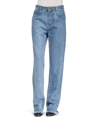 Five-Pocket Frayed Denim Jeans, Blue
