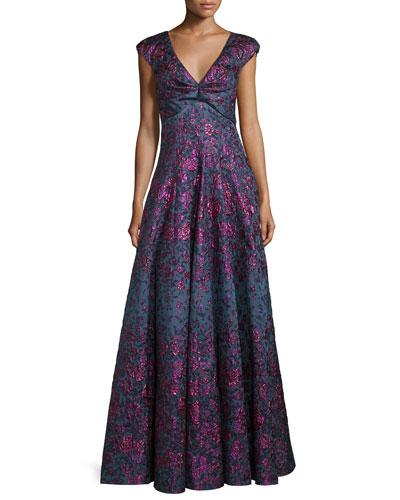 Holda Cap-Sleeve Degrade Brocade Gown, Purple